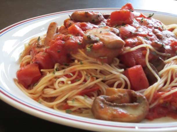 Hearty Mushroom Tomato Sauce with Capellini