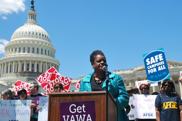 Rep Gwen Moore at VAWA rally image by Leadership Conference on Civil and Human Rights via Flickr (http://www.flickr.com/photos/lccr/7456898524/)