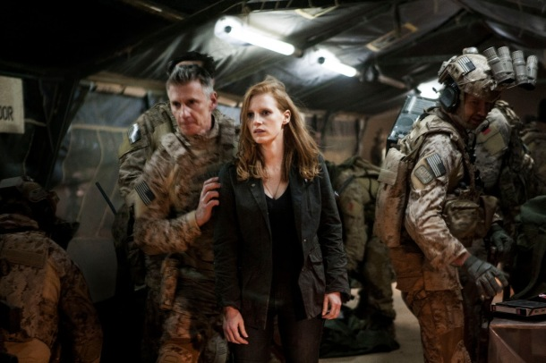 Admiral Bill McCraven (Christopher Stanley) and Maya (Jessica Chastain) in 'Zero Dark Thirty'